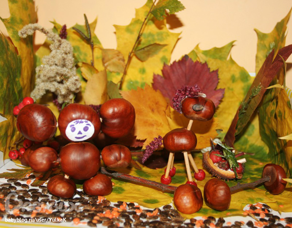 Поделки из природного материала осень в детский сад своими руками фото